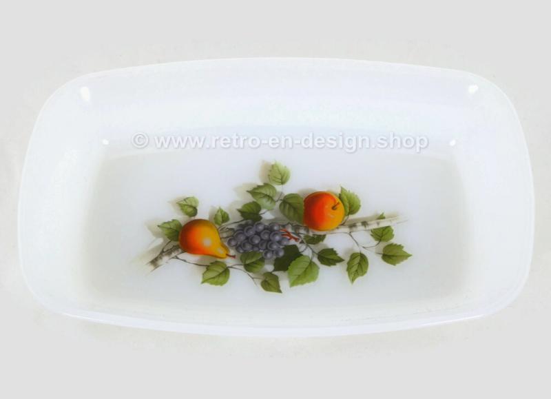 Rectangular Arcopal Fruits de France dish with pear, grape, apple, branch