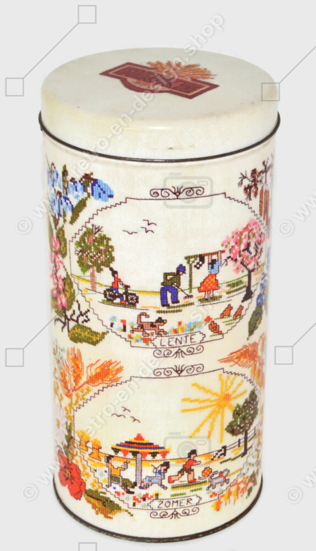 Vintage biscuit tin made by ARKS, four seasons on embroidered print