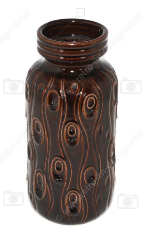 """Loza vintage, jarrón de cerámica de Schreurich en marrón con patrón de líneas """"Koralle"""", modelo 242-22"""