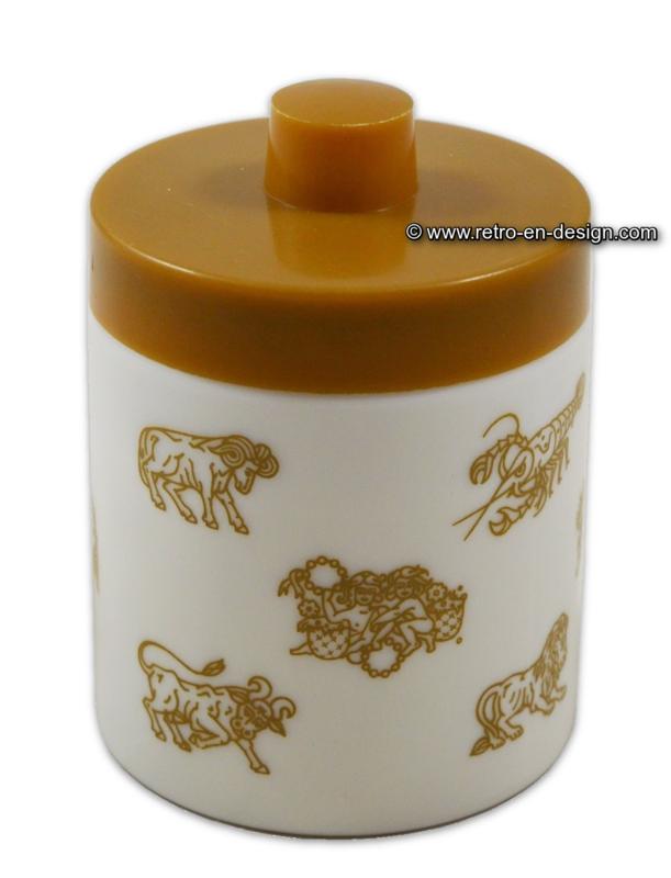 Pot d'opaline pour le café moka. Constellations, couvercle de couleur bronze