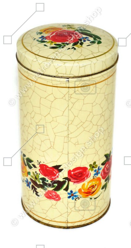 Cream-coloured biscuit tin with flowers and crackle motif by VERKADE