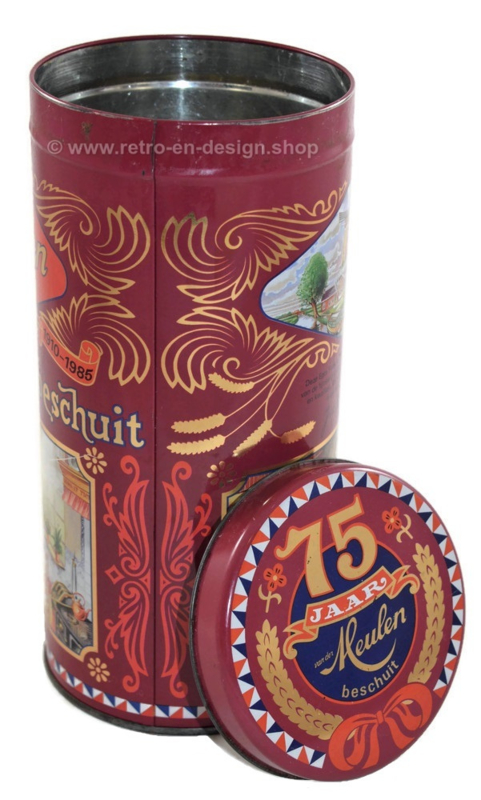 Anniversary tin 75 years van der Meulen biscuit, rusk canister
