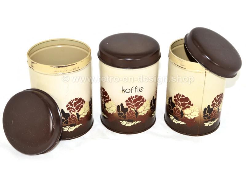 Vintage set of Brabantia tins for Coffee, Tea and Sugar