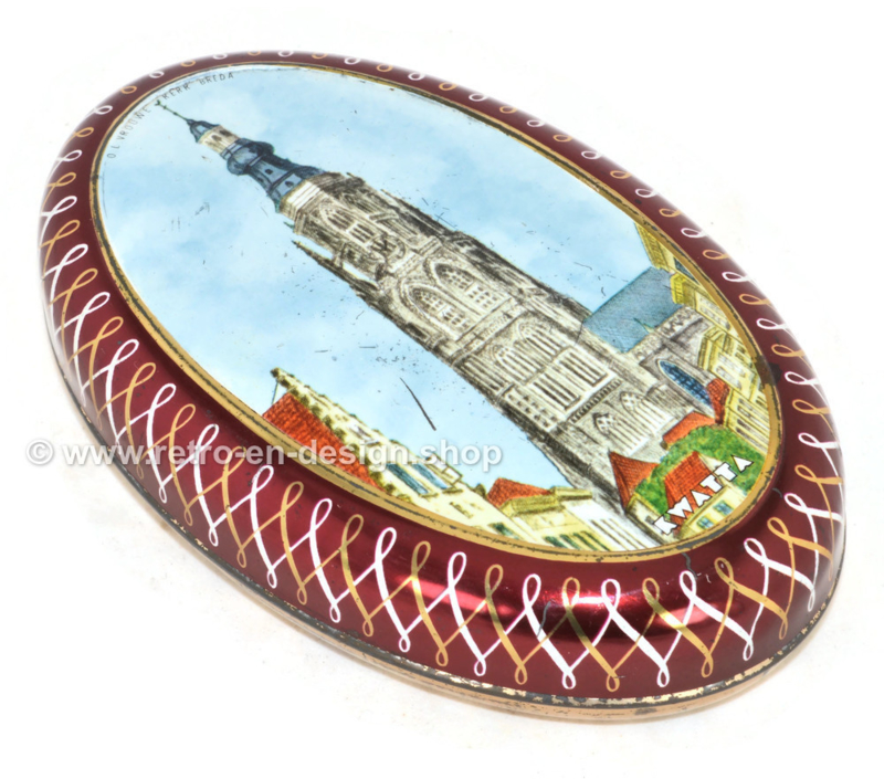 Vintage oval tin chocolate box by Kwatta with color picture of the Onze Lieve Vrouwe Kerk at Breda