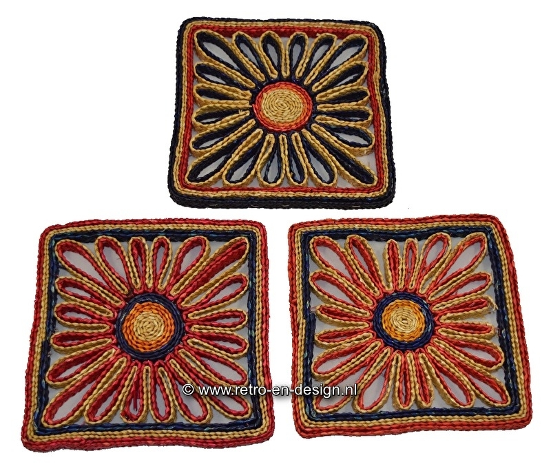 Square Wicker Coasters from the 60s / 70s.