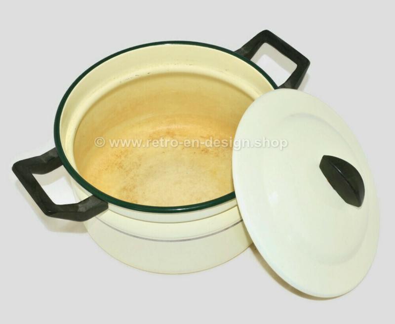 Cream enamel BK stock pot with green rim, gold trim and black Bakelite handles