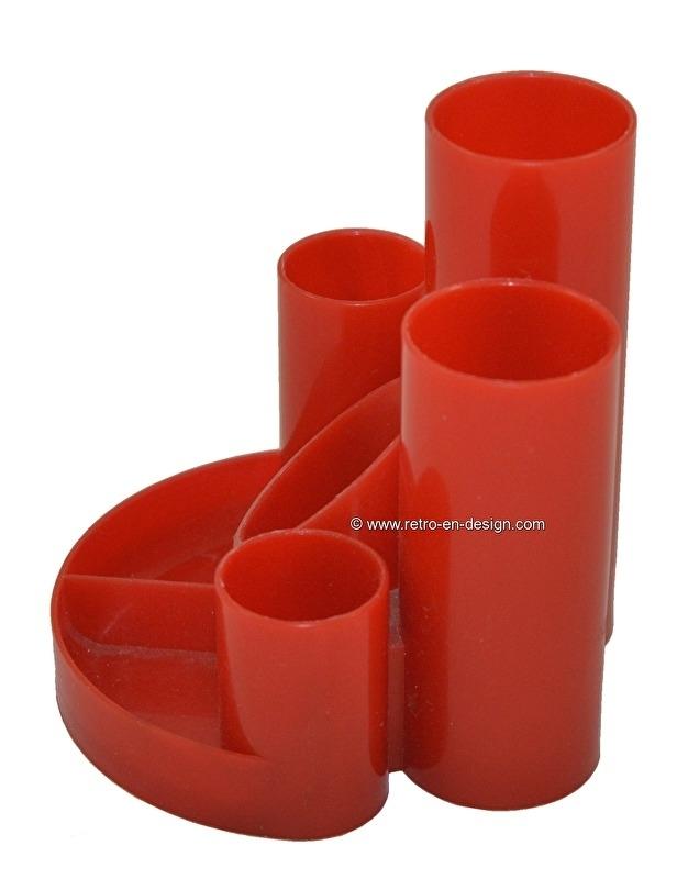Retro Vintage Plastic Helix desk organizer, penholder in red. Made in England