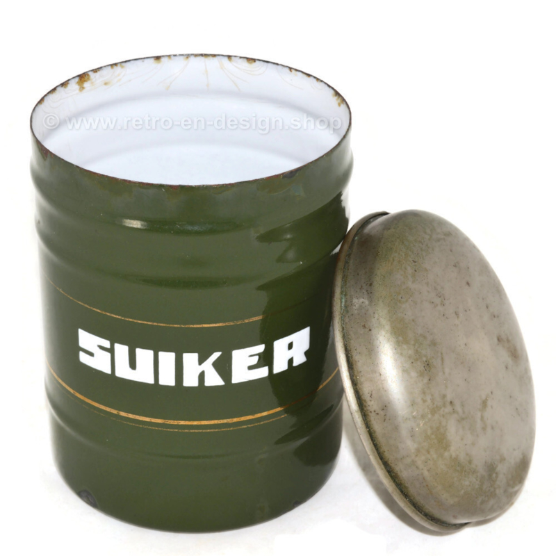 Dark green enamelled storage container for Sugar with white capital letters