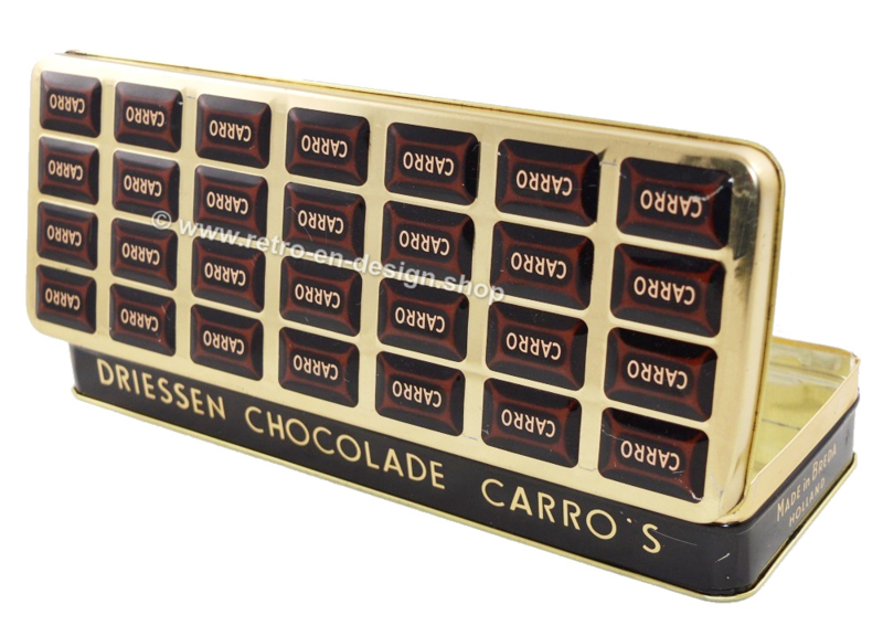 Elongated tin with embossed lid for Carros, chocolates by DRIESSEN