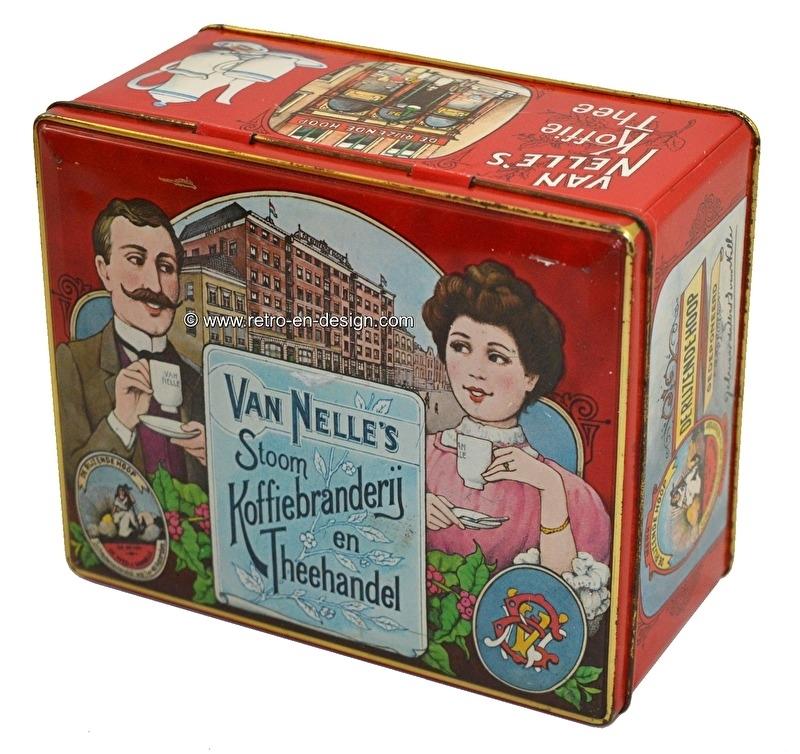 Vintage blikken trommel van Van Nelle's stoom Koffiebranderij en Theehandel