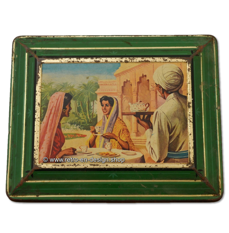 Vintage tin with Indian women for Assam tea