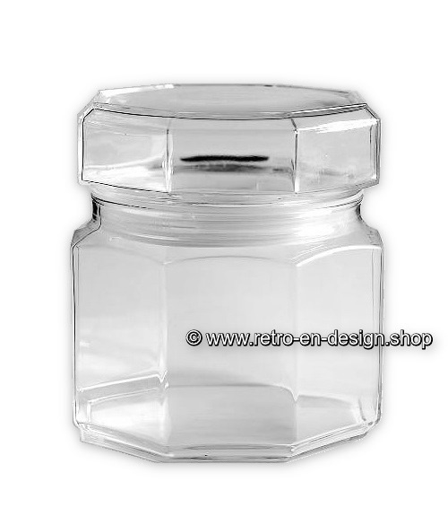 Glass storage jar with lid by Arcoroc France, Luminarc Octime