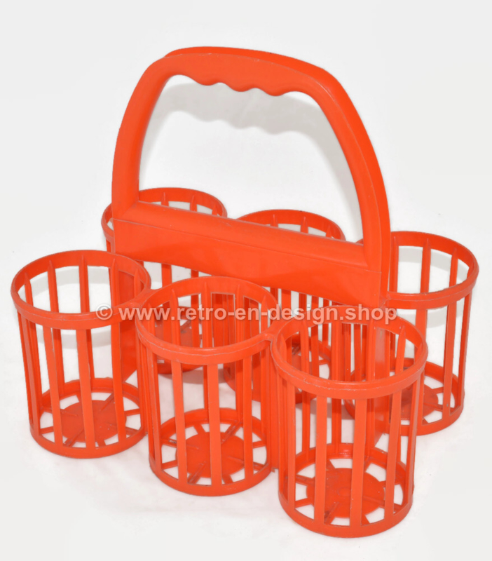 Curver vintage orange plastic bottle carrier, bottle holder, bottle rack for six 1 liter bottles