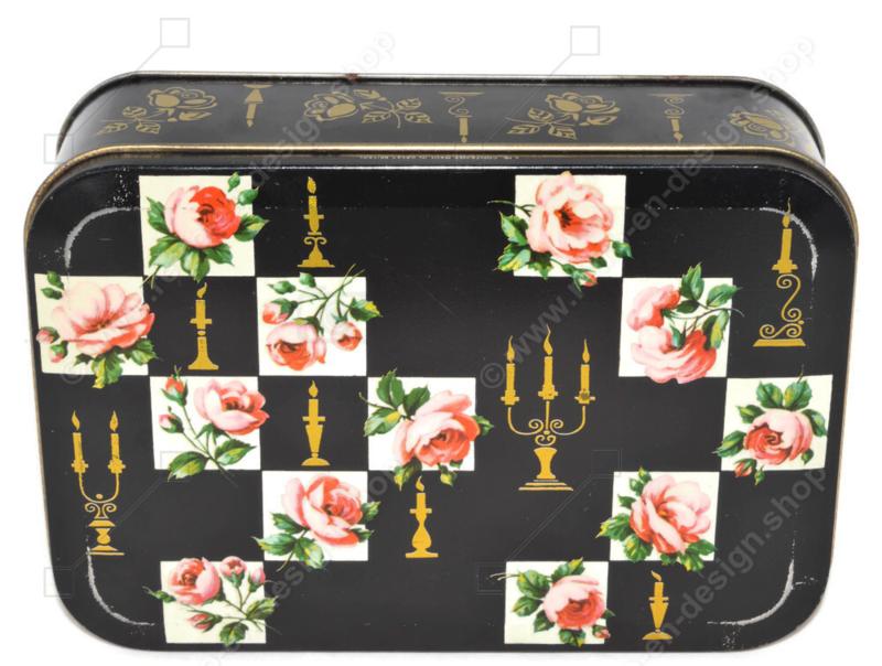 Vintage Keksdose von Verkade mit Rosen und Kerzenhaltern