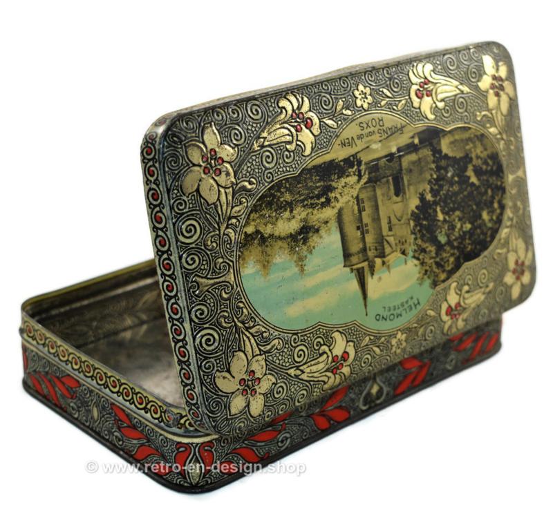 Boîte étain vintage avec une image du château d'Helmond