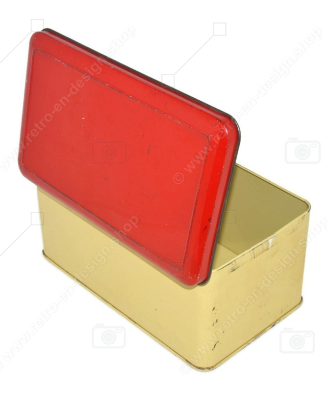 Vintage cream-coloured tin with red hinged lid