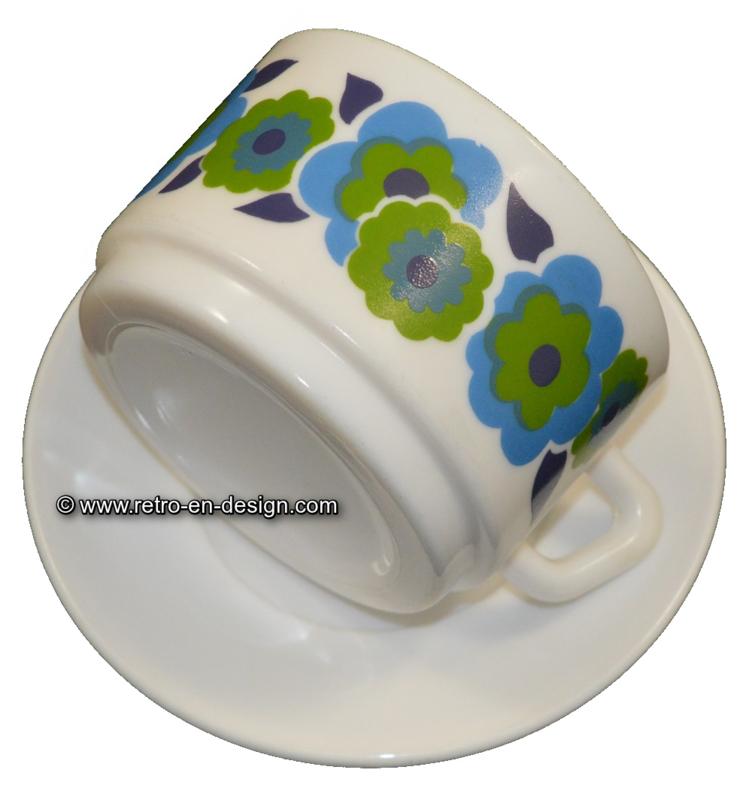 Arcopal Lotus Suppenschüssel mit Untertasse, blau und grün