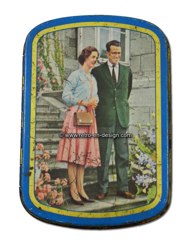 Vintage lata de tabaco con el Rey Baudouin y la Reina Fabiola de Bélgica