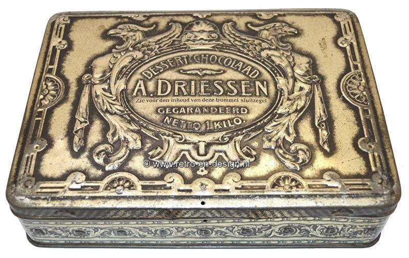 Vintage Blik Dessert Chocolaad A. Driessen 1 kilo. 1920 - 1930