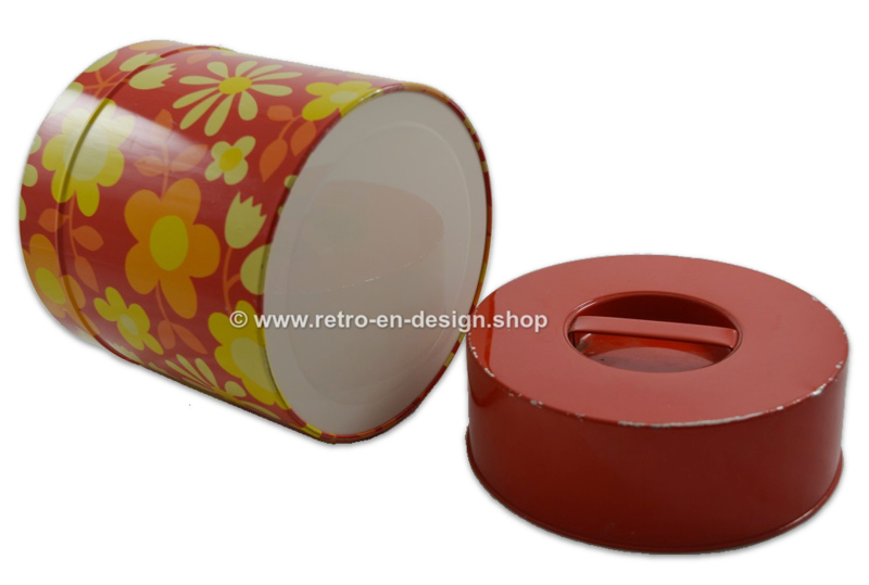 Flower power tin with high lid and deep grip