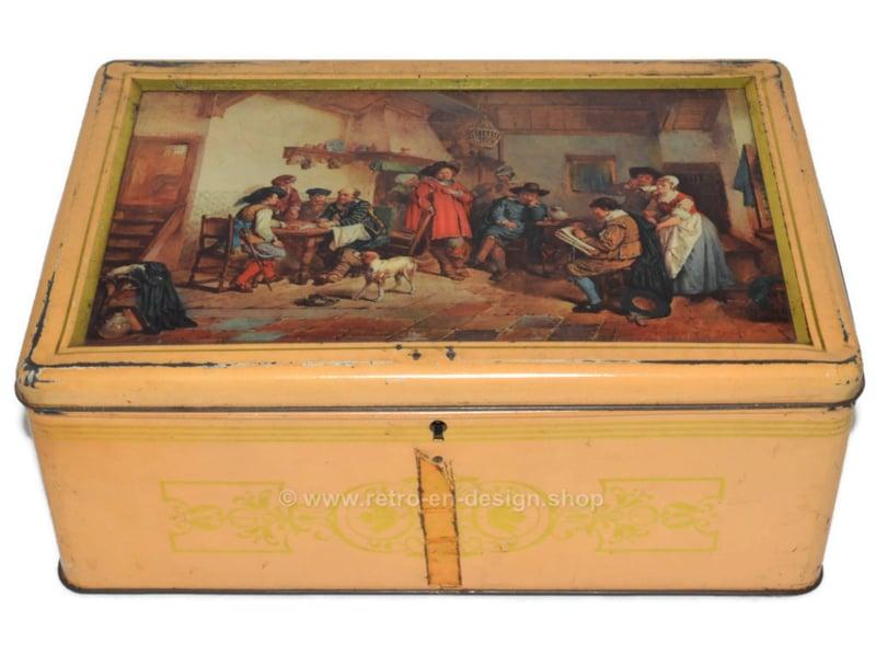 """Boite vintage avec peinture """"Old Master"""" sur le couvercle"""