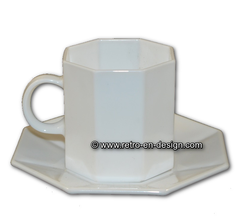 Arcoroc Octime, White Tea cup and saucer
