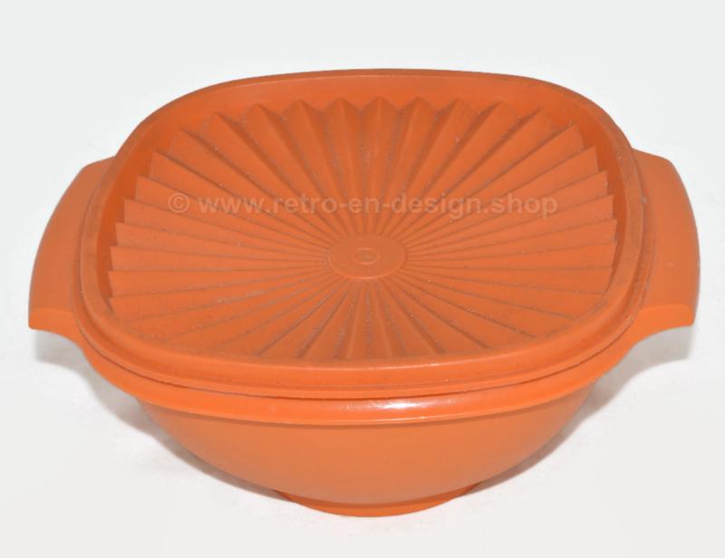 Vintage Tupperware servalier bowl with lid, orange