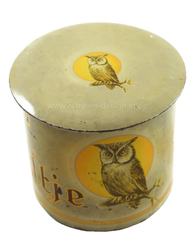 "Vintage tin for 25 ""Uiltje"" (Owl) Luna cigars by La Bolsa, Kampen"