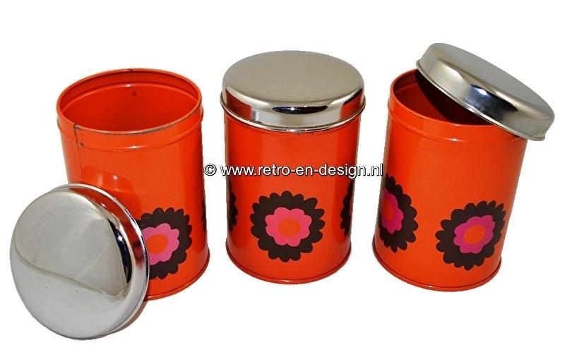Set of three orange Brabantia tins. Design 'Patrice', vintage