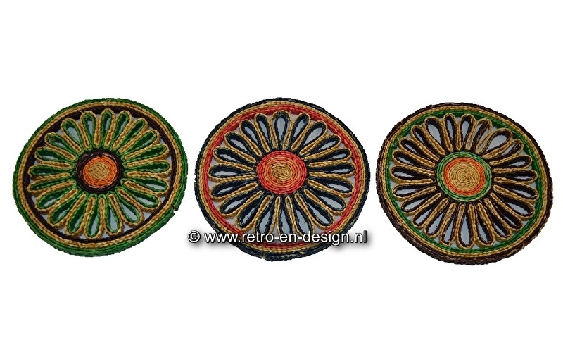 Round wicker coasters from the 60s and 70s