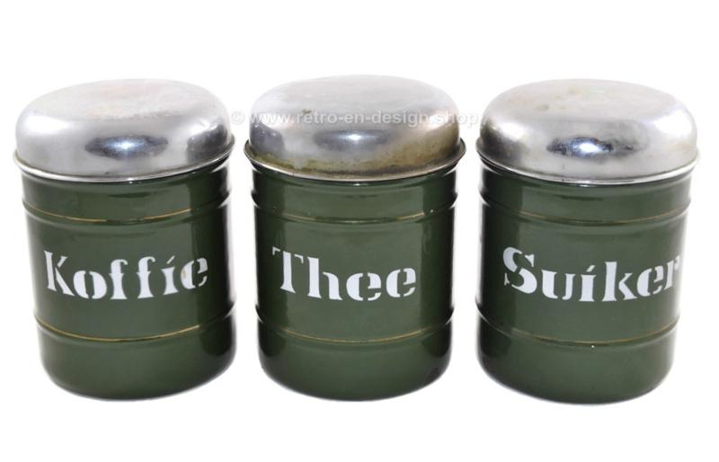 Hedendaags Set van drie Brocante emaille voorraadblikken voor Koffie, Thee en XC-38