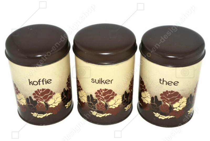 Vintage set of tin canisters by Brabantia for coffee, tea and sugar