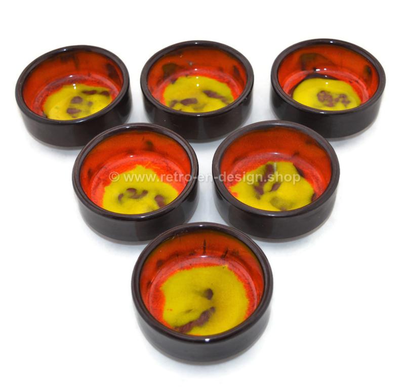 Vintage set of six peanut bowls in lava pottery