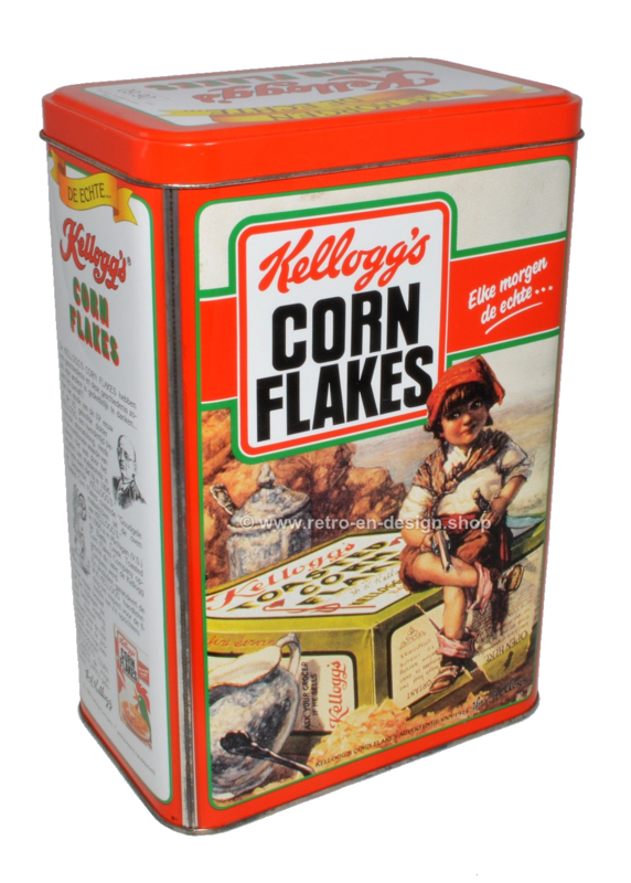 Vintage blik Kellogg's Cornflakes, oranje bewaarbus