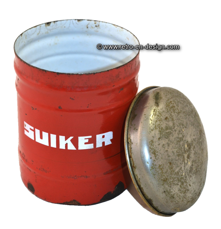Brocante red enamel stock container for sugar (suiker)