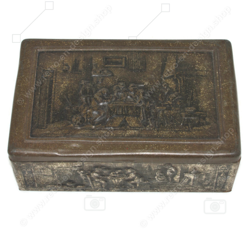 Vintage tin box with pub scenes, embossed, by Van Melle, Breskens
