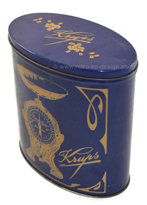 Tin made by Krups with images of a scale and coffee set