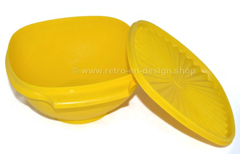 Vintage Tupperware servalier bowl with lid, yellow