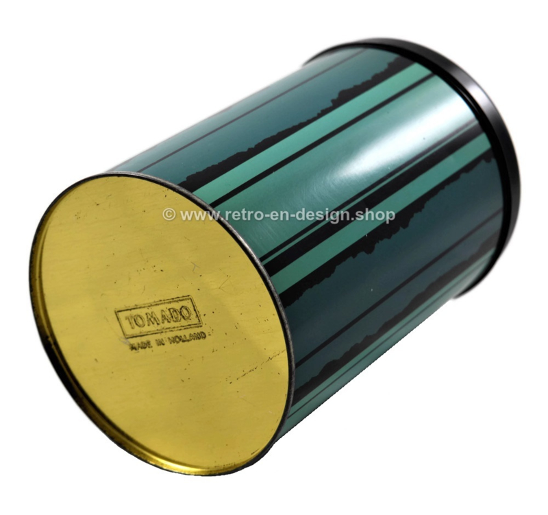 Vintage round tin by Tomado. Blue/green with black stripes