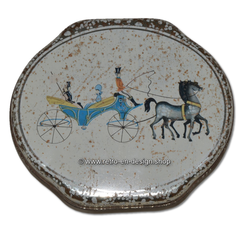 Lata oval vintage de ALBERT HEIJN con una imagen de un carruaje con caballos