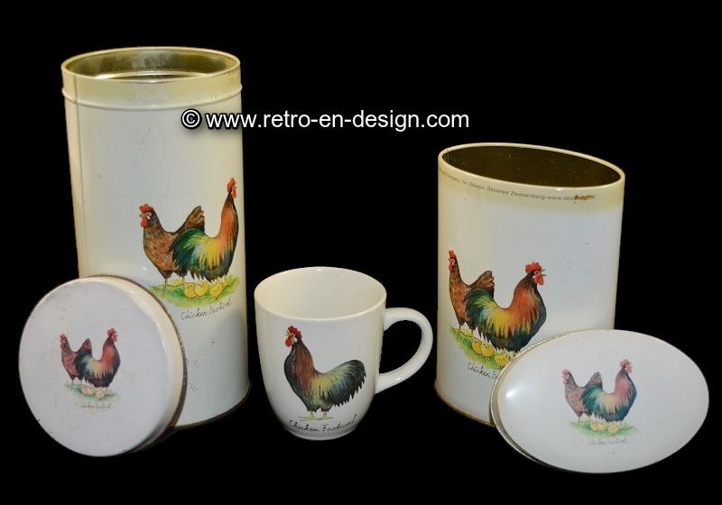 """Vintage blik, bus en kopje van JET 'Chicken Festival"""""""