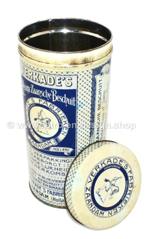 Boîte à biscottes vintage de Verkade's Prima Zaanse Beschuit, édition anniversaire