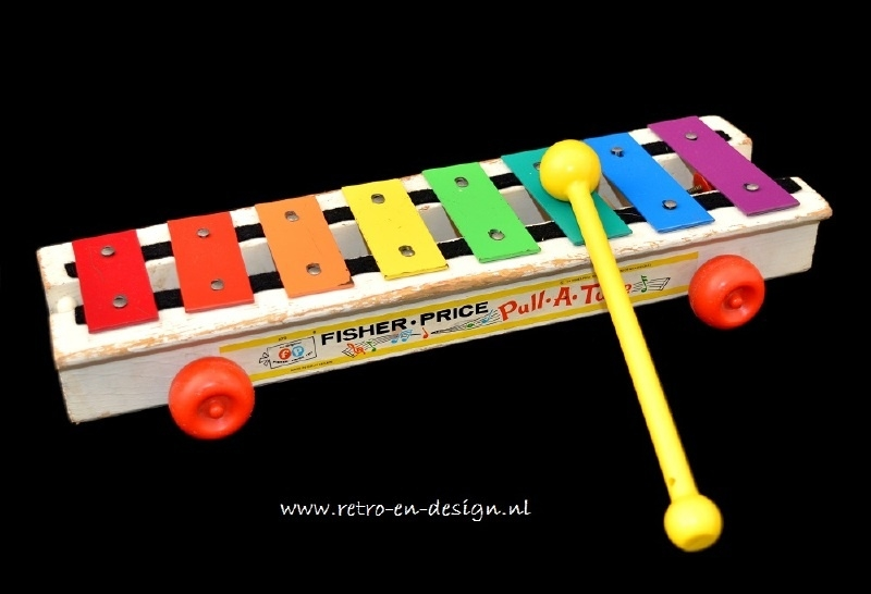 Fisher Price vintage houten Xylofoon 'Pull-A-Tune'
