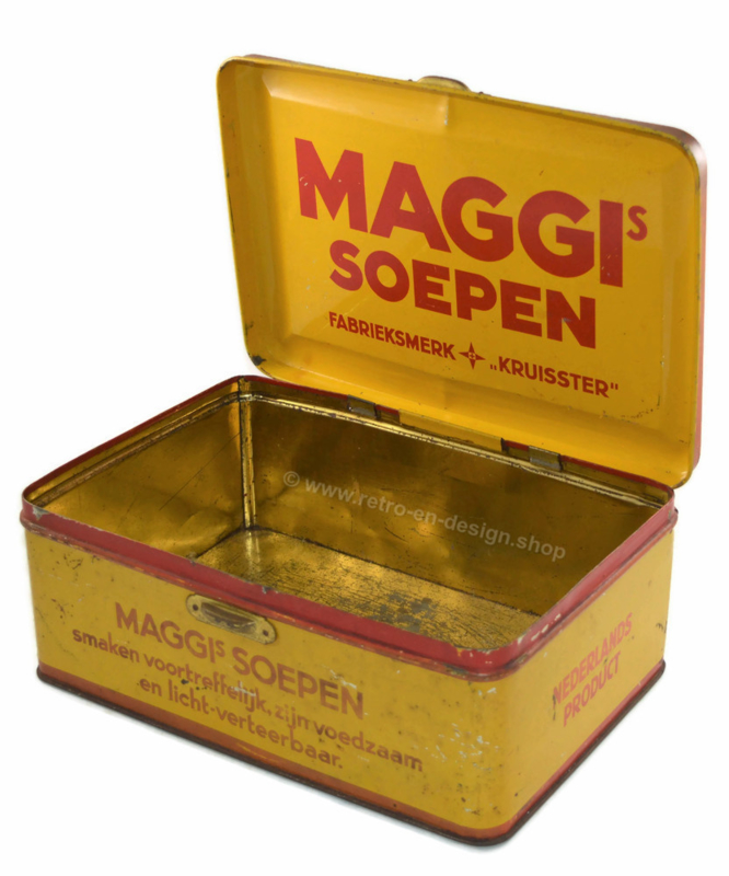 """Vintage rectangular tin in yellow and red """"Maggi soepen"""""""