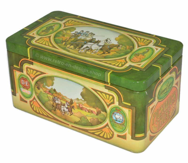 Vintage blikken trommel voor Pickwick thee van Douwe Egberts met afbeelding van koets, paarden en herberg
