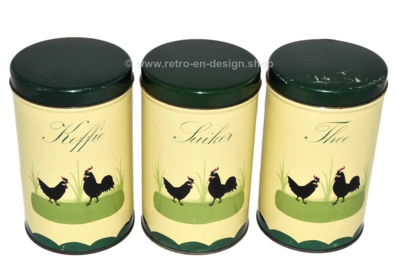 Set of tins for coffee, tea and sugar. Chicken and Rooster dinnerware