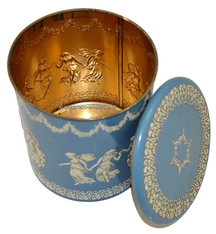 Vintage babyblue tin or jar with Jasperware Wedgwood decoration