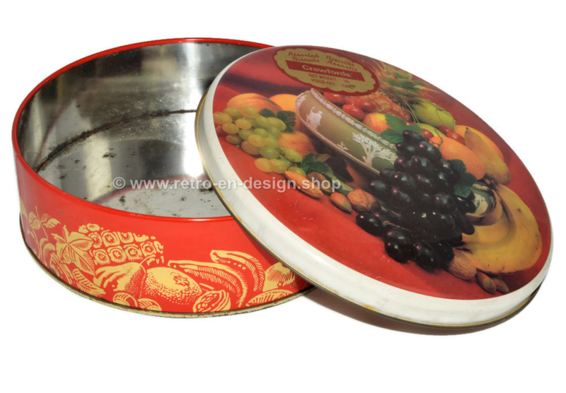 Vintage tin drum for biscuits made by Crawfords