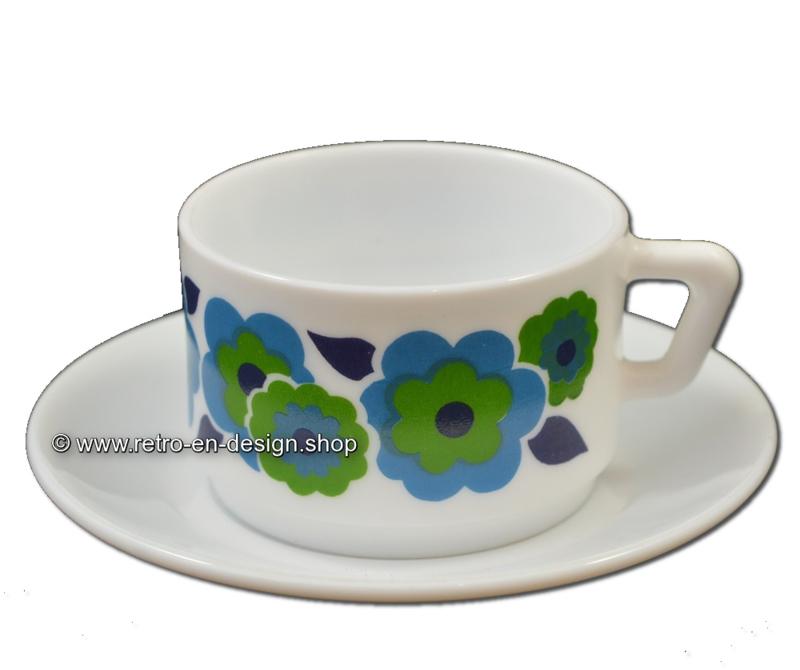 Vintage Arcopal France LOTUS koffiekop en schotel, Blauw/groen
