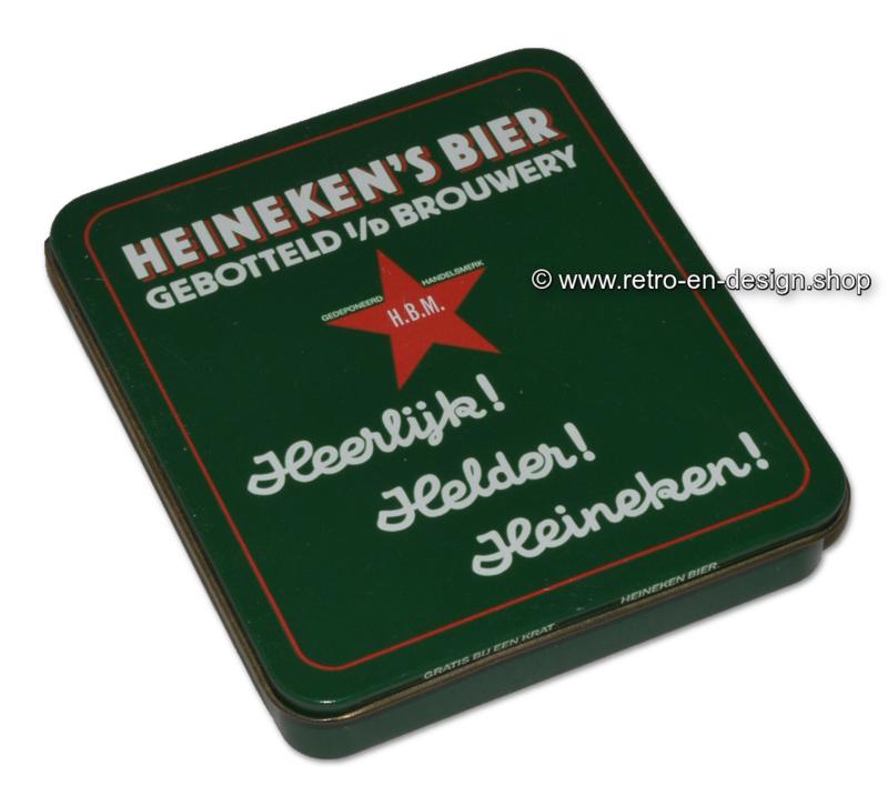 Vierkant groen blikje voor bierviltjes van Heineken